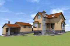 3d woonhuis geeft terug Royalty-vrije Stock Afbeelding