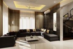 3D woonkamer royalty-vrije stock afbeelding