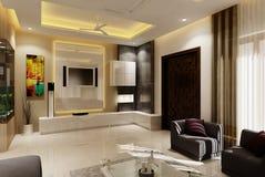 3D woonkamer royalty-vrije stock foto