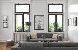 3d - woonkamer - binnenlands concept Stock Afbeeldingen