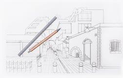 3D woonwijk van de architectentekening Stock Foto