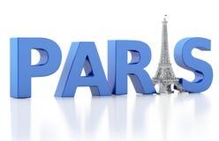 3d woord van Parijs met de toren van Eiffel Stock Afbeeldingen
