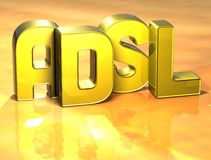 3D Word ADSL op gele achtergrond Stock Illustratie