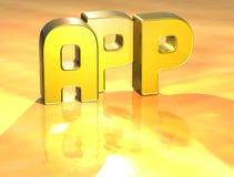 3D Word App op gouden achtergrond Royalty-vrije Stock Fotografie