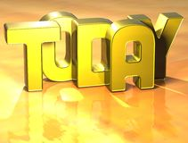 3D Word aujourd'hui sur le fond jaune Images libres de droits