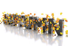 3d Word autumn decorated with leaves. Royalty Free Stock Photos