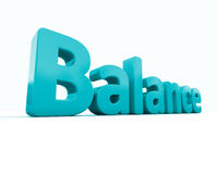 3d word balance. Word balance icon on a white background. 3D illustration Royalty Free Stock Images