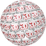 3D Word on Ball Sphere Three Dimensional Effect Stock Photo