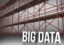 3D word big data in front of scaffolding in grey room Stock Photos