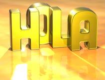 3D Word bonjour dans la langue espagnole sur le fond jaune Images stock