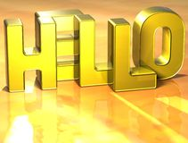 3D Word bonjour sur le fond jaune Photos libres de droits