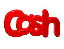 3D Word Cash over white background. Stock Images