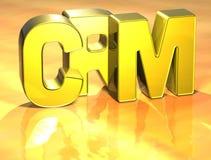3D Word CRM op gouden achtergrond Royalty-vrije Illustratie