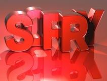 3D Word désolé sur le fond rouge Image stock