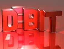 3D Word Debet op rode achtergrond Royalty-vrije Illustratie