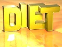 3D Word Dieet op gele achtergrond Royalty-vrije Stock Foto