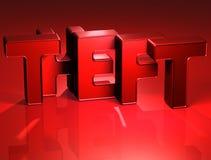 3D Word Diefstal op rode achtergrond Stock Afbeeldingen