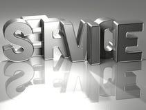 3D Word Dienst op zilveren achtergrond Stock Fotografie