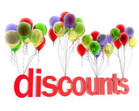 3d word discount. On balloons Royalty Free Stock Images
