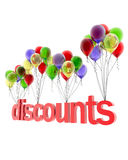 3d word discount. On colorful balloons Royalty Free Stock Image