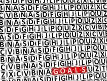3D Word Doelstellingen binnen verschillende brievenblokken Royalty-vrije Stock Foto