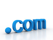 3D word dot com in blue - front view. On a white background Royalty Free Stock Images