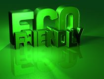 3D Word Eco Friendly on green background Stock Photography