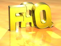 3D Word FAQ on yellow background Royalty Free Stock Image