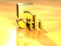 3D Word Fifth on gold background Royalty Free Stock Image