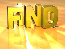3D Word Find on gold background.  Royalty Free Stock Photography