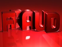 3D Word Fraude op rode achtergrond Royalty-vrije Stock Afbeeldingen
