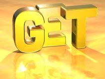 3D Word Get on gold background Stock Photos