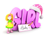 3d word girl concept. White background, 3d image Royalty Free Stock Photos