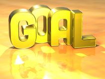 3D Word Goal on yellow background.  Royalty Free Stock Images