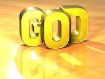 3D Word God op gele achtergrond Royalty-vrije Illustratie