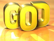 3D Word God op gele achtergrond Stock Illustratie