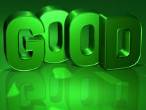 3D Word Good on green background Royalty Free Stock Photo