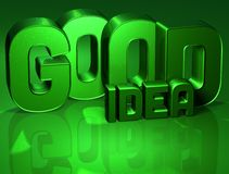 3D Word Good Idea on green background.  Stock Image
