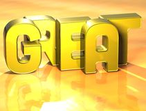 3D Word Great on yellow background.  Stock Photo