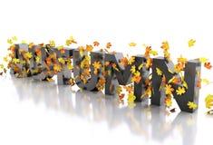 3d Word herfst met bladeren wordt verfraaid dat stock illustratie
