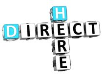 3D word hier Direct mailkruiswoordraadsel Stock Foto