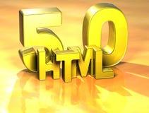 3D Word HTML op gele achtergrond Stock Afbeelding