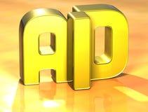 3D Word Hulp op gele achtergrond Stock Illustratie