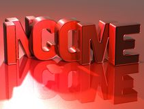 3D Word Income on red background Stock Images