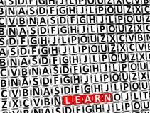 3D Word leert binnen verschillende brievenblokken Stock Foto's