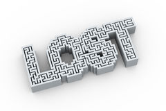 3d word lost in labyrinth maze puzzle design Stock Image
