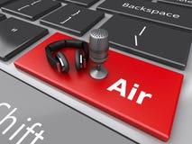 3d Word lucht met mic en hoofdtelefoons op computertoetsenbord Royalty-vrije Stock Afbeeldingen