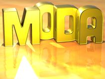 3D Word Moda sur le fond jaune Image stock