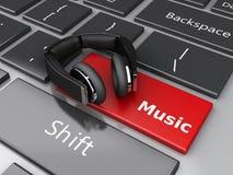 3d Word muziek met hoofdtelefoons op computertoetsenbord Royalty-vrije Stock Afbeeldingen