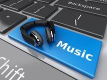 3d Word muziek met hoofdtelefoons op computertoetsenbord Stock Afbeelding